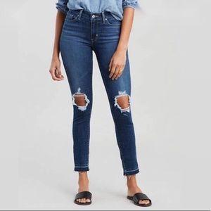 Levi's 711 Skinny frayed hem crop jeans. Size 26